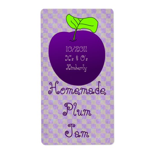 Homemade Plum Jam Jar Label (Customise) Shipping Label