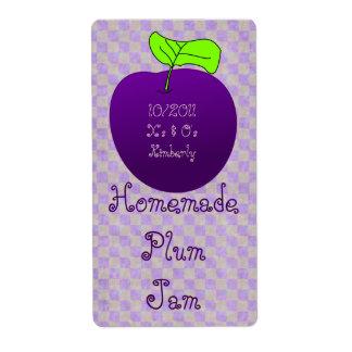 Homemade Plum Jam Jar Label (Customize) Shipping Label