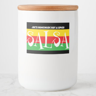 Homemade SALSA with red green and yellow stripes Food Label