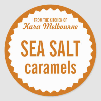 Homemade Sea Salt Caramel Label Template Round Sticker