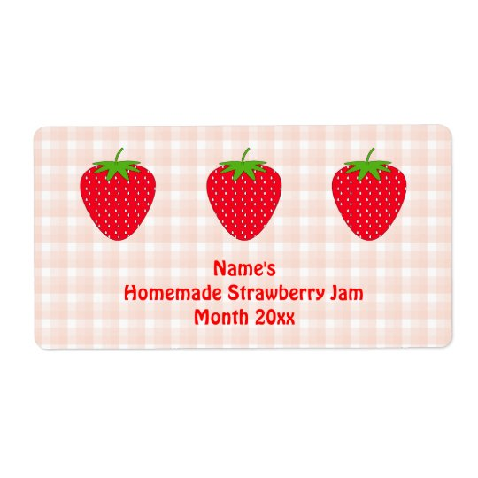 Homemade Strawberry Jam Label.Pink and Red. Shipping Label