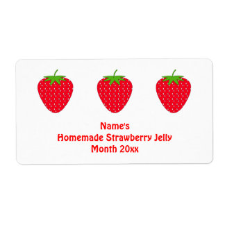 Homemade Strawberry Jelly Label. White and Red. Shipping Label