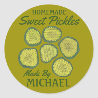 Homemade Sweet Pickles Personalized Dill Pickle Classic Round Sticker