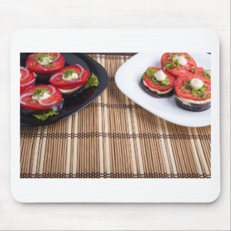 Homemade vegetarian dishes of stewed eggplant mouse pad