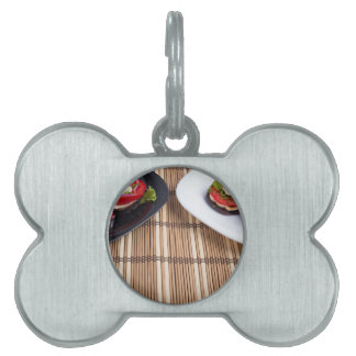 Homemade vegetarian dishes of stewed eggplant pet name tag