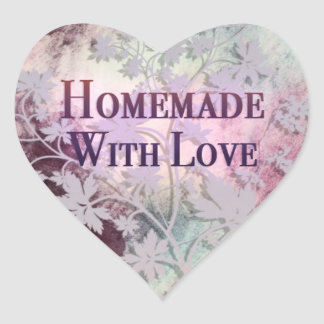 Homemade With Love heart stickers (pinks)