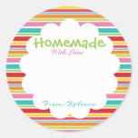 Homemade With Love Rainbow Round Sticker
