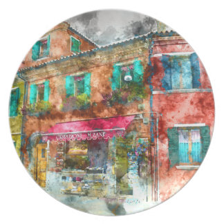 Homes in Burano Italy near Venice Dinner Plate