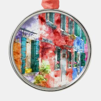 Homes in Burano Italy near Venice Metal Ornament