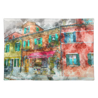 Homes in Burano Italy near Venice Place Mat