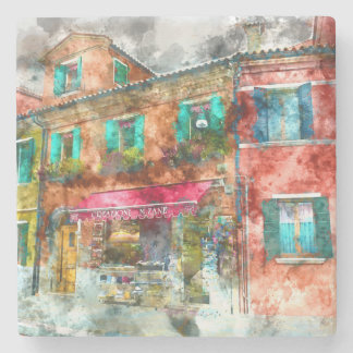 Homes in Burano Italy near Venice Stone Coaster