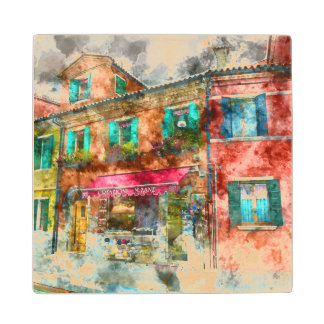 Homes in Burano Italy near Venice Wood Coaster