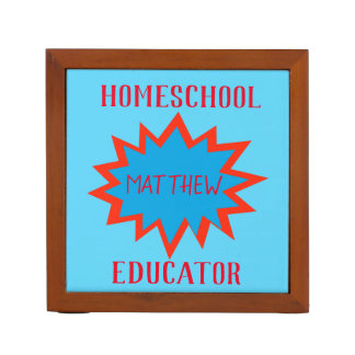 Homeschool Educator red and blue Superhero Theme Desk Organiser