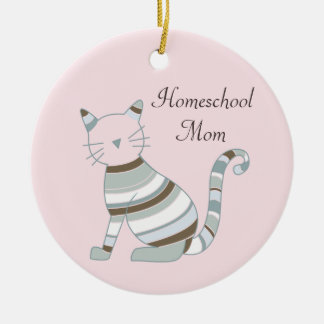 Homeschool Mom Cat Theme Ceramic Ornament