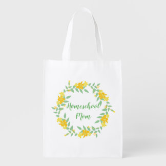 Homeschool Mom Floral Wreath Reusable Grocery Bag