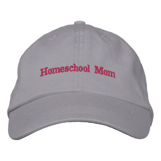 Homeschool Mom Gray and Pink Embroidered Hat