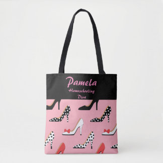 Homeschooling Diva Pink and black Tote Bag