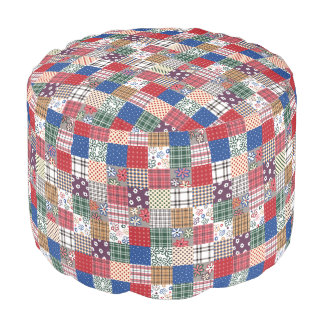 Homey Quilt Sturdy Spun Polyester Round Pouf