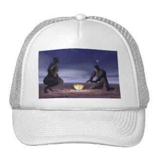 Homo erectus and fire - 3D render Cap