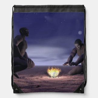 Homo erectus and fire - 3D render Drawstring Bag