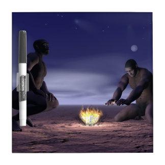 Homo erectus and fire - 3D render Dry Erase Board