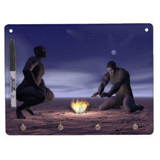 Homo erectus and fire - 3D render Dry Erase Board With Key Ring Holder