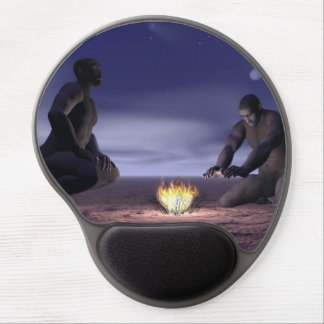 Homo erectus and fire - 3D render Gel Mouse Pad