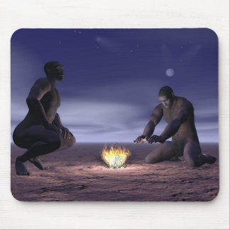 Homo erectus and fire - 3D render Mouse Pad