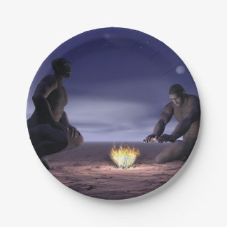 Homo erectus and fire - 3D render Paper Plate