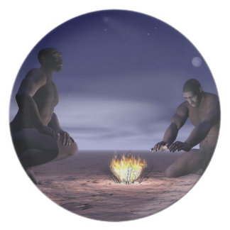 Homo erectus and fire - 3D render Plate