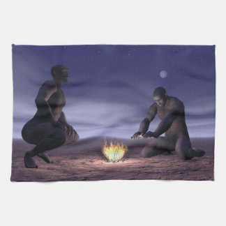 Homo erectus and fire - 3D render Tea Towel