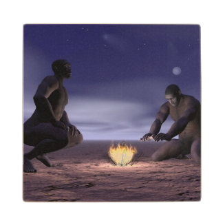 Homo erectus and fire - 3D render Wood Coaster