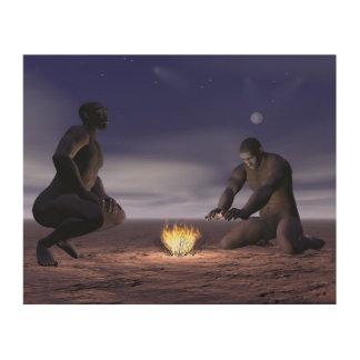 Homo erectus and fire - 3D render Wood Wall Art