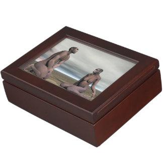 Homo erectus couple - 3D render Keepsake Box