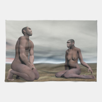 Homo erectus couple - 3D render Tea Towel