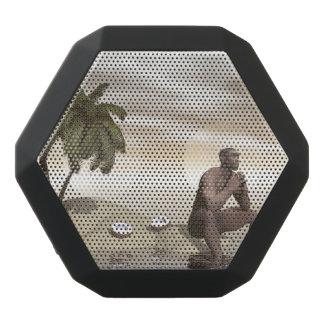 Homo erectus thinking alone - 3D render Black Bluetooth Speaker
