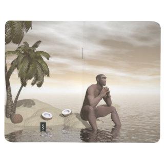 Homo erectus thinking alone - 3D render Journal
