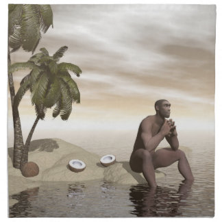 Homo erectus thinking alone - 3D render Napkin