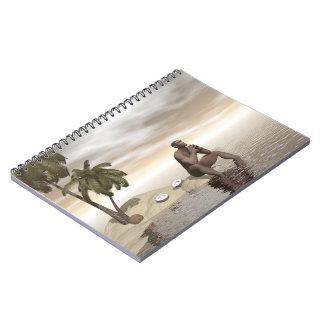 Homo erectus thinking alone - 3D render Notebook