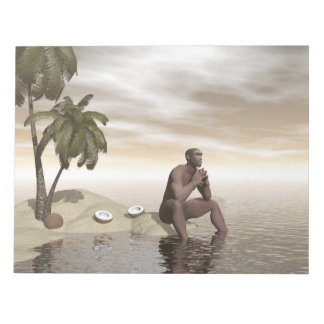 Homo erectus thinking alone - 3D render Notepad