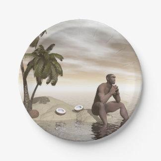 Homo erectus thinking alone - 3D render Paper Plate