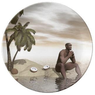 Homo erectus thinking alone - 3D render Plate