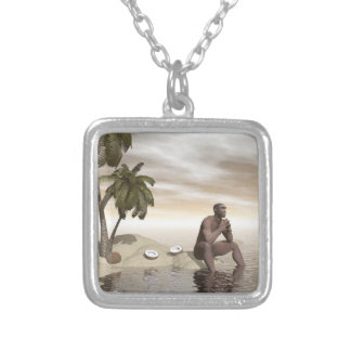 Homo erectus thinking alone - 3D render Silver Plated Necklace