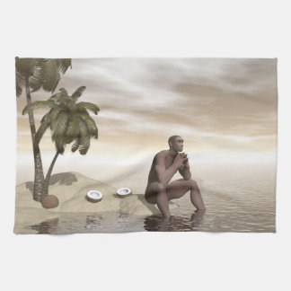 Homo erectus thinking alone - 3D render Tea Towel