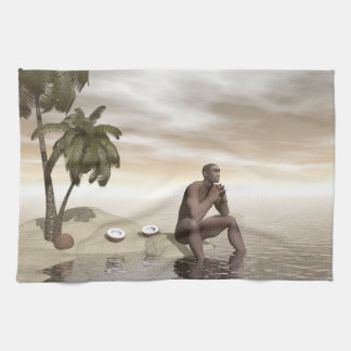 Homo erectus thinking alone - 3D render Tea Towel