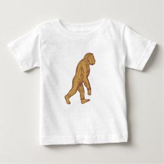 Homo Habilis Walking Side Drawing Baby T-Shirt