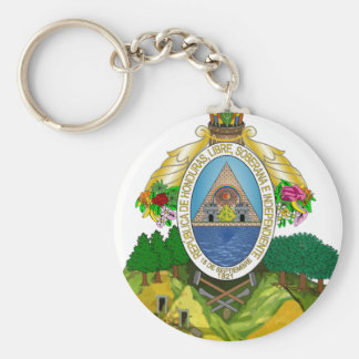 Honduras Coat of Arms Basic Round Button Key Ring