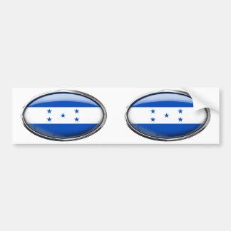Honduras Flag in Glass Oval Bumper Sticker
