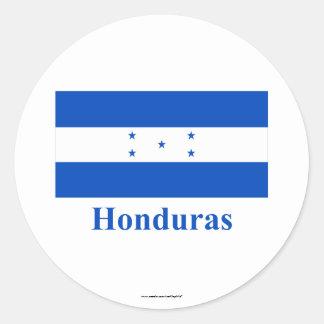 Honduras Flag with Name Classic Round Sticker