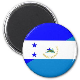 honduras nicaragua country half flag 6 cm round magnet
